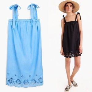 J.Crew Blue Tie-shoulder Dress Embroidery